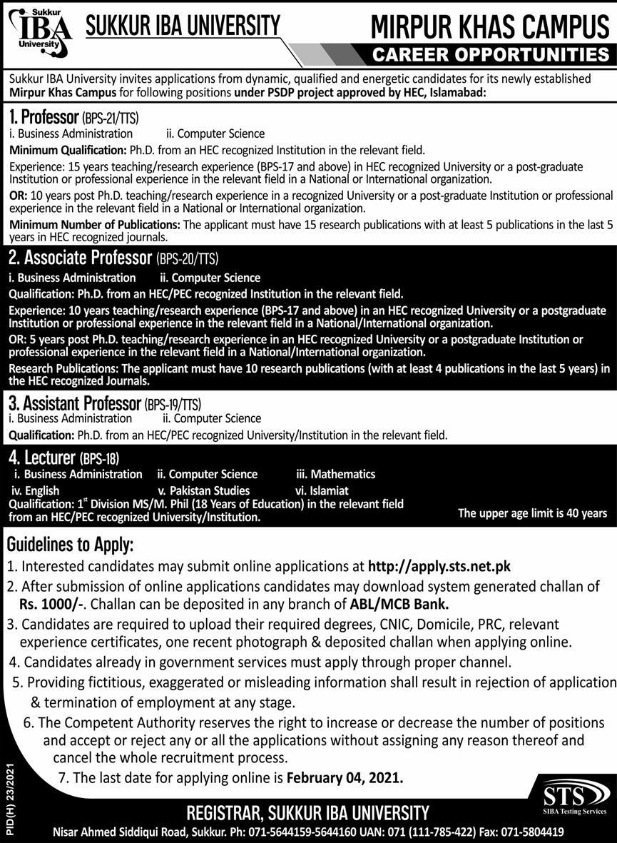 Sukkur IBA University Jobs January 2021
