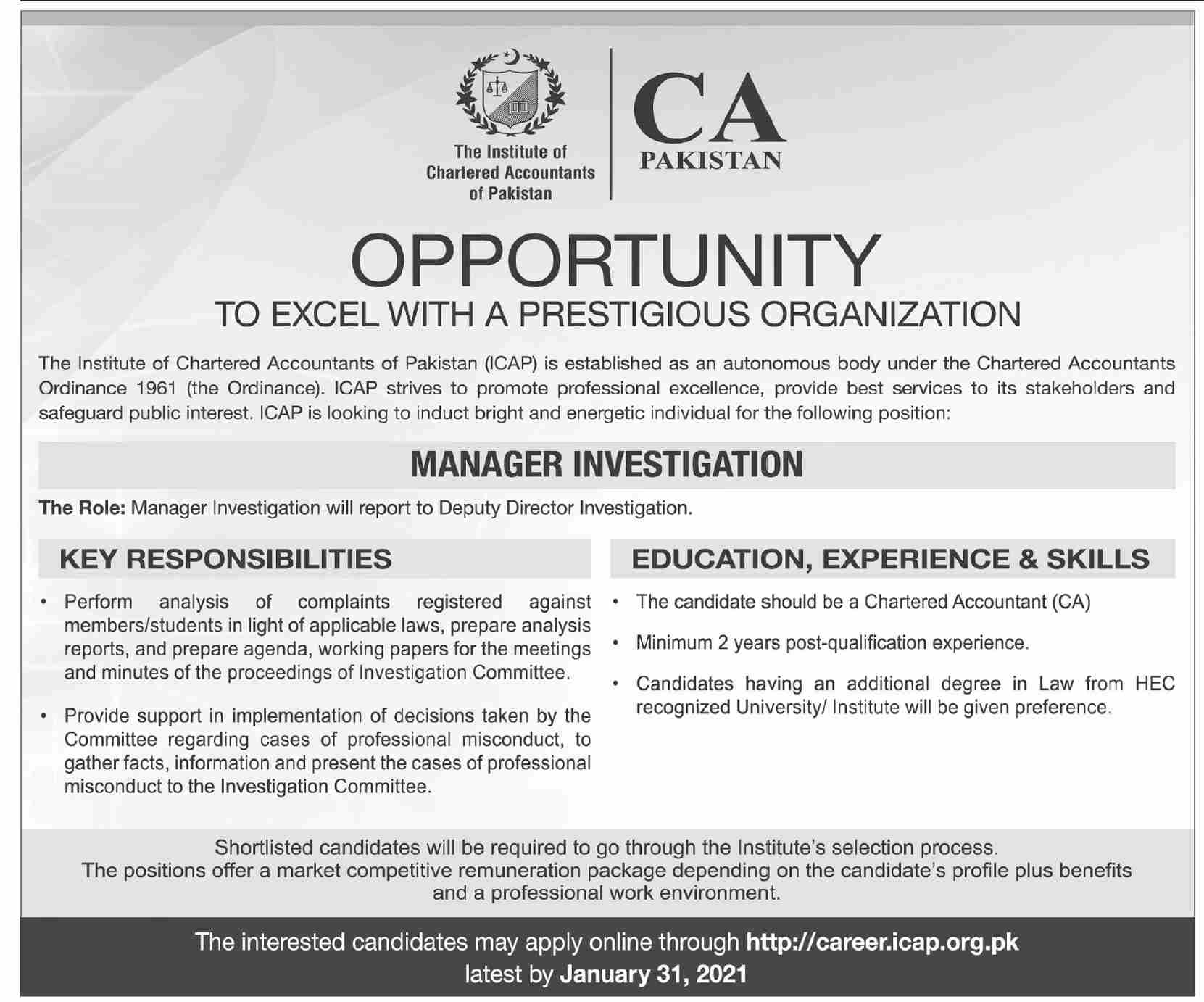 The Institute of Chartered Accountants of Pakistan ICAP Jobs January 2021