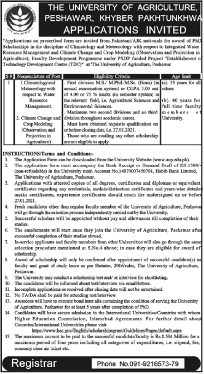 The University of Agriculture Peshawar Jobs January 2021