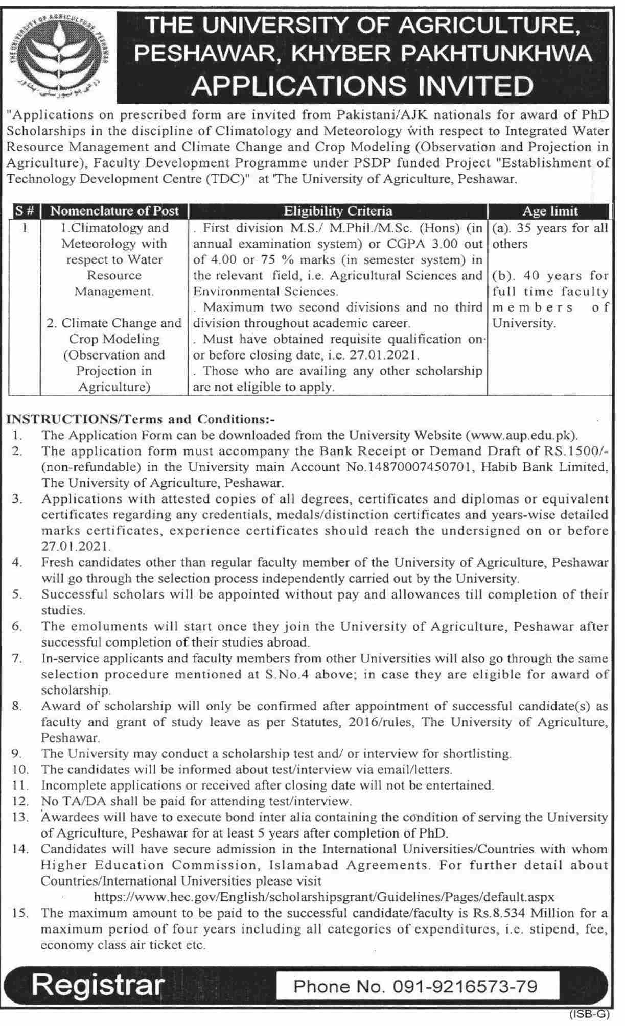 The University of Agriculture Peshawar KPK Jobs January 2021