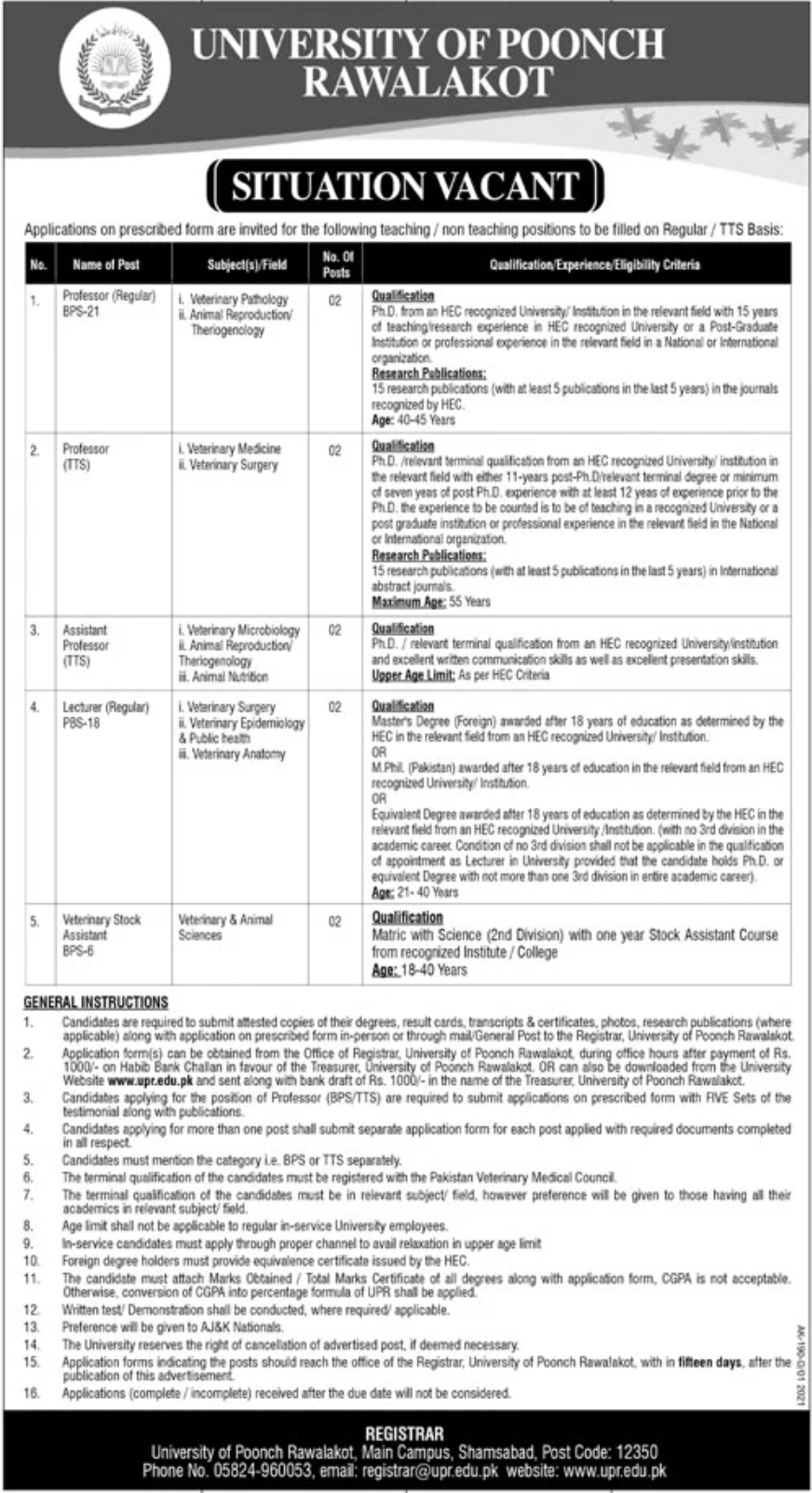 University of Poonch Rawalakot UPR Jobs January 2021