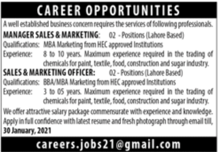Well Established Business Concern Jobs January 2021
