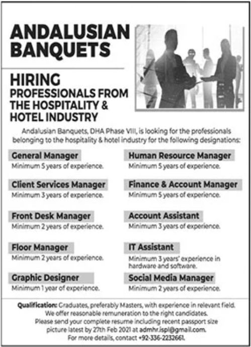 Andalusian Banquets Jobs February 2021