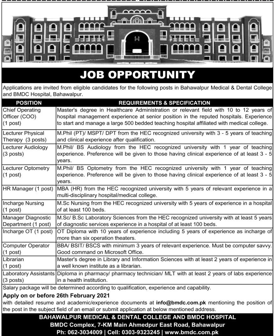 Bahawalpur Medical & Dental College Jobs February 2021