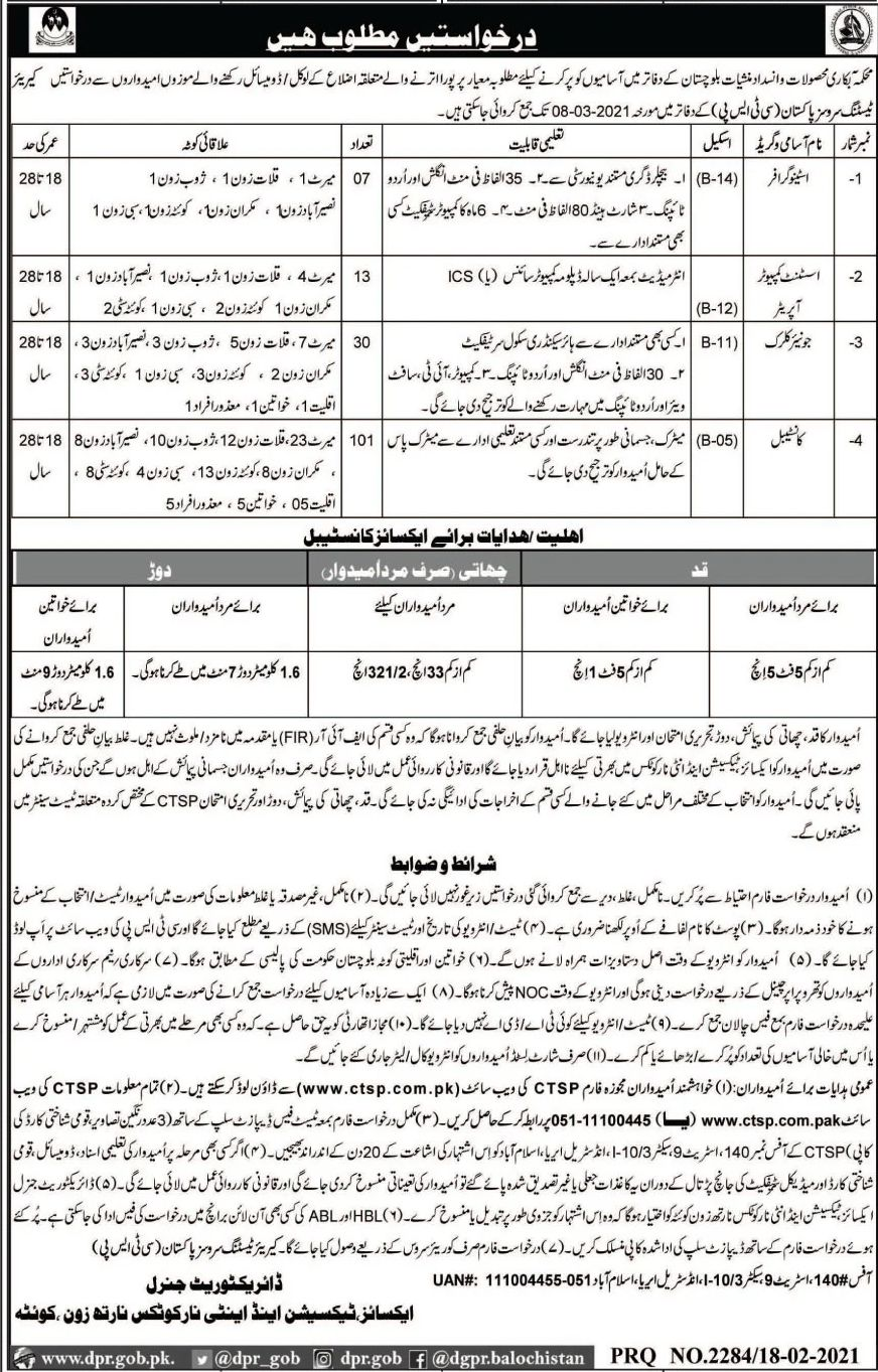 Excise, Taxation & Narcotics Control Department Jobs February 2021
