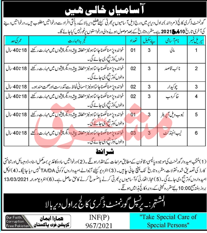 Government Degree College Jobs February 2021