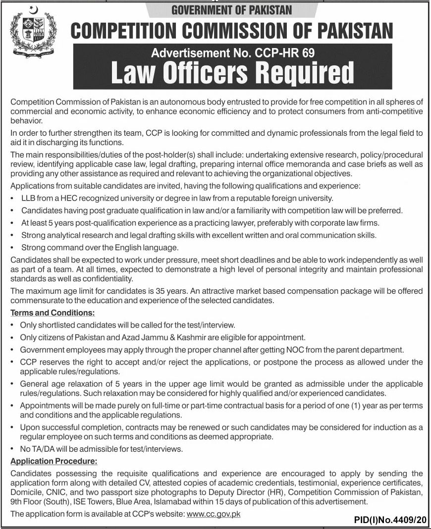Government of Pakistan Competition Commission of Pakistan Jobs February 2021