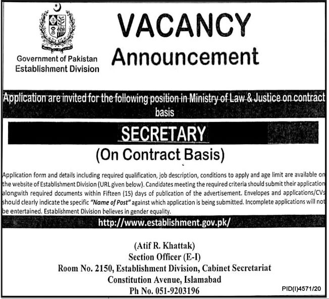 Government of Pakistan Establishment Division Jobs February 2021