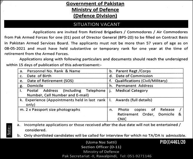 Government of Pakistan Ministry of Defence Jobs February 2021