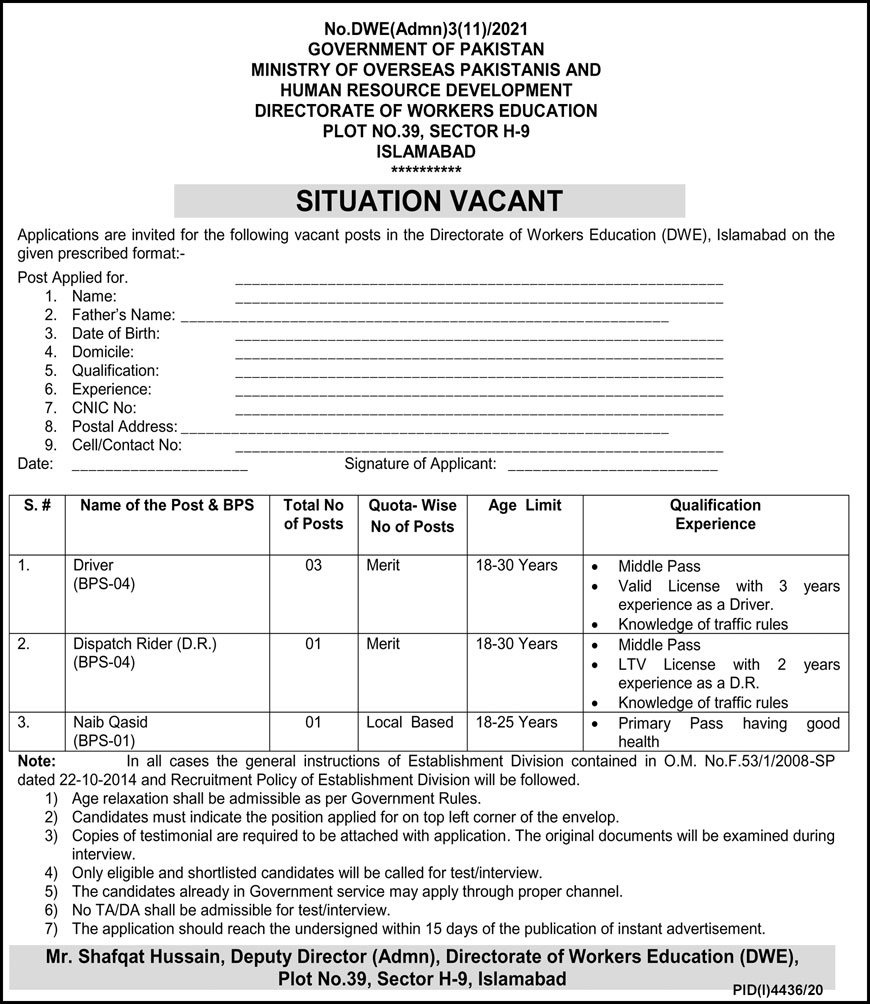 Government of Pakistan Ministry of Overseas Pakistanis and Human Resource Development Jobs February 2021