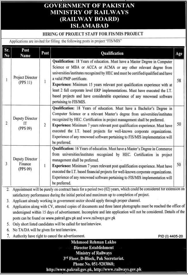 Government of Pakistan Ministry of Railways Islamabad Jobs February 2021