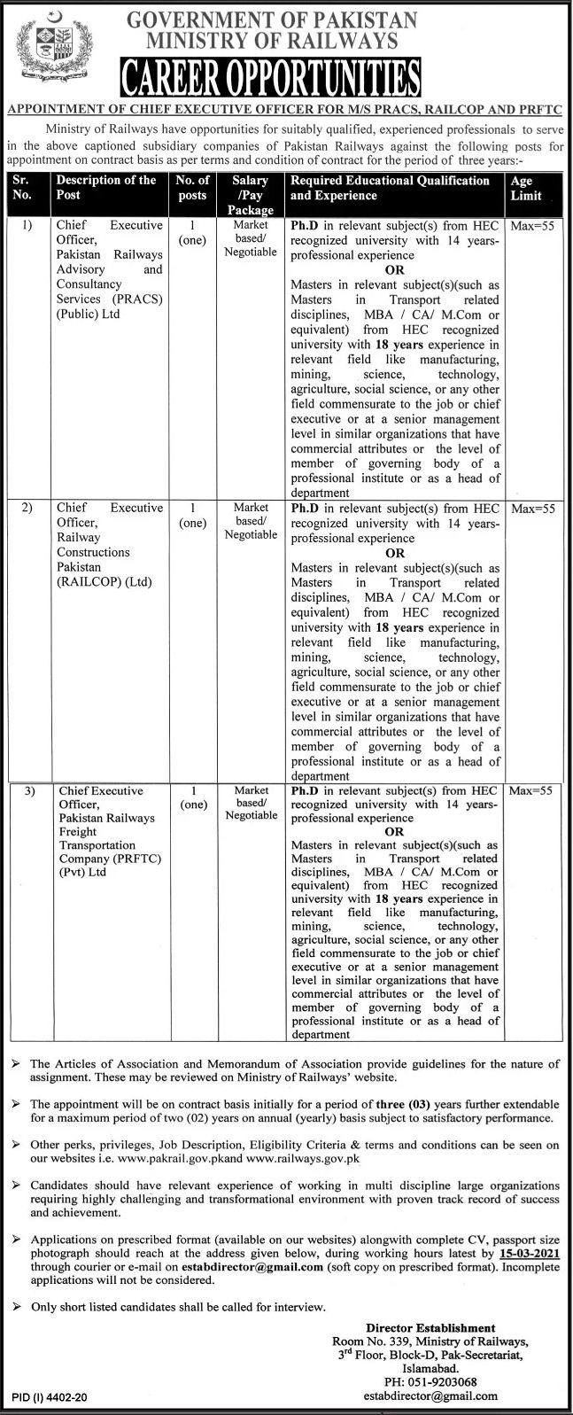 Government of Pakistan Ministry of Railways Jobs February 2021