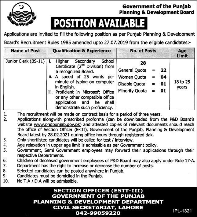Government of the Punjab Planning & Development Board Jobs February 2021