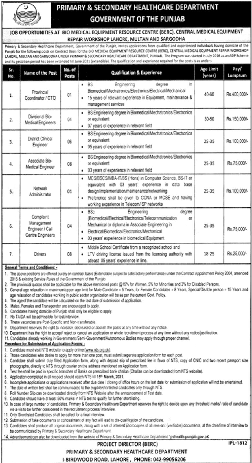 Government of the Punjab Primary & Secondary Healthcare Department Jobs February 2021