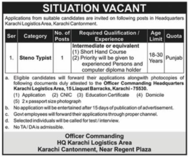 Headquarters Karachi Logistic Area Jobs February 2021