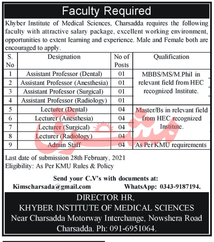 Khyber Institute of Medical Sciences Jobs February 2021