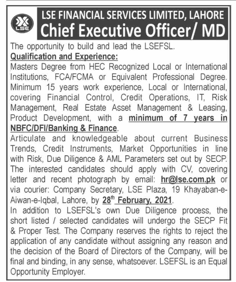 LSE Finance Services Limited Jobs February 2021