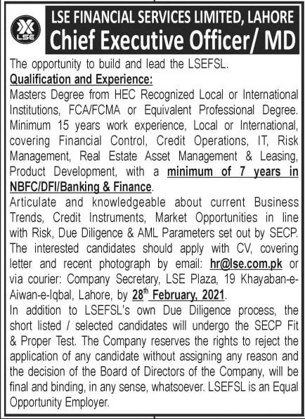 LSE Financial Services Limited Jobs February 2021