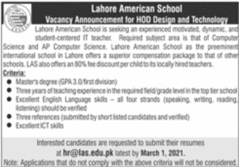 Lahore America School LAS Latest Jobs February 2021