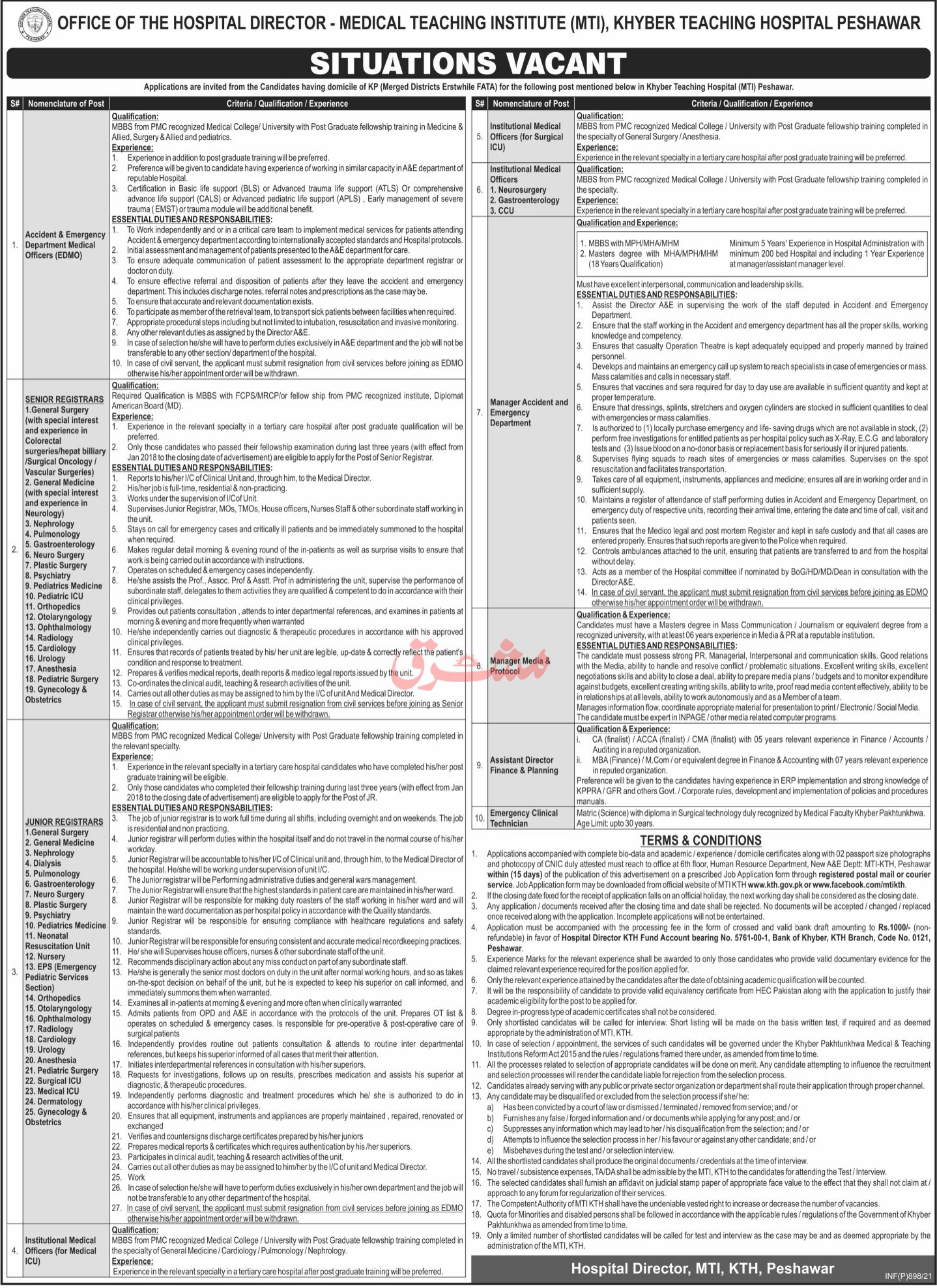 Medical Teaching Institute MTI Peshawar Jobs February 2021