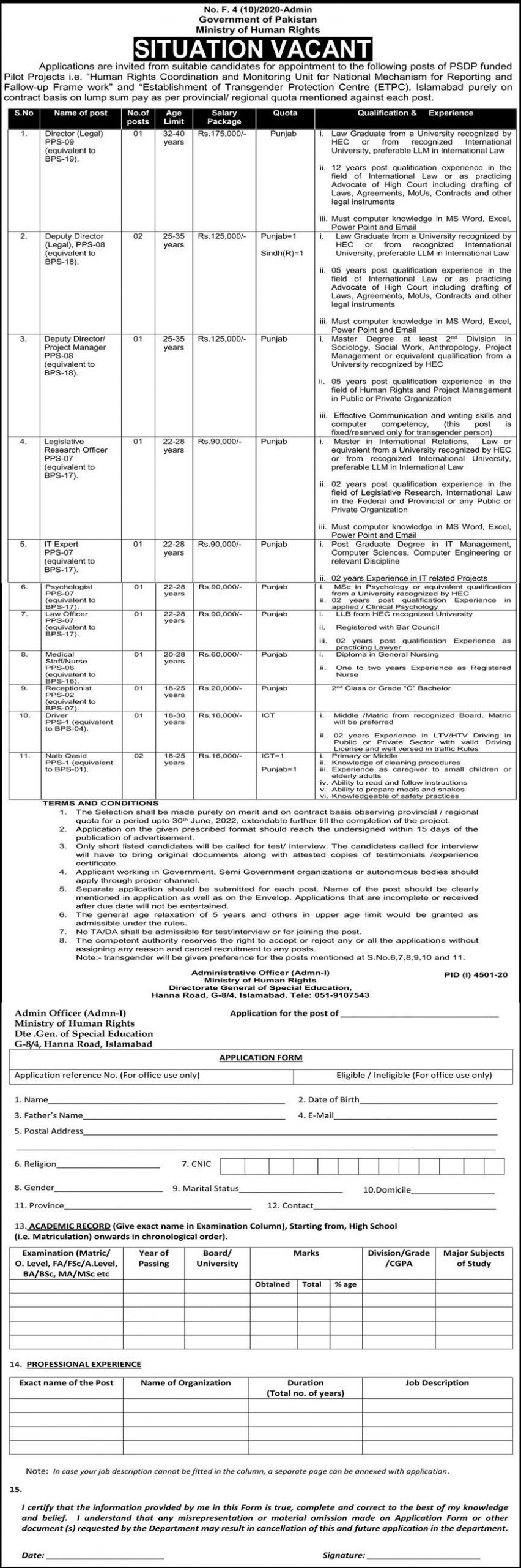 Ministry of Human Rights Government of Pakistan Jobs February 2021