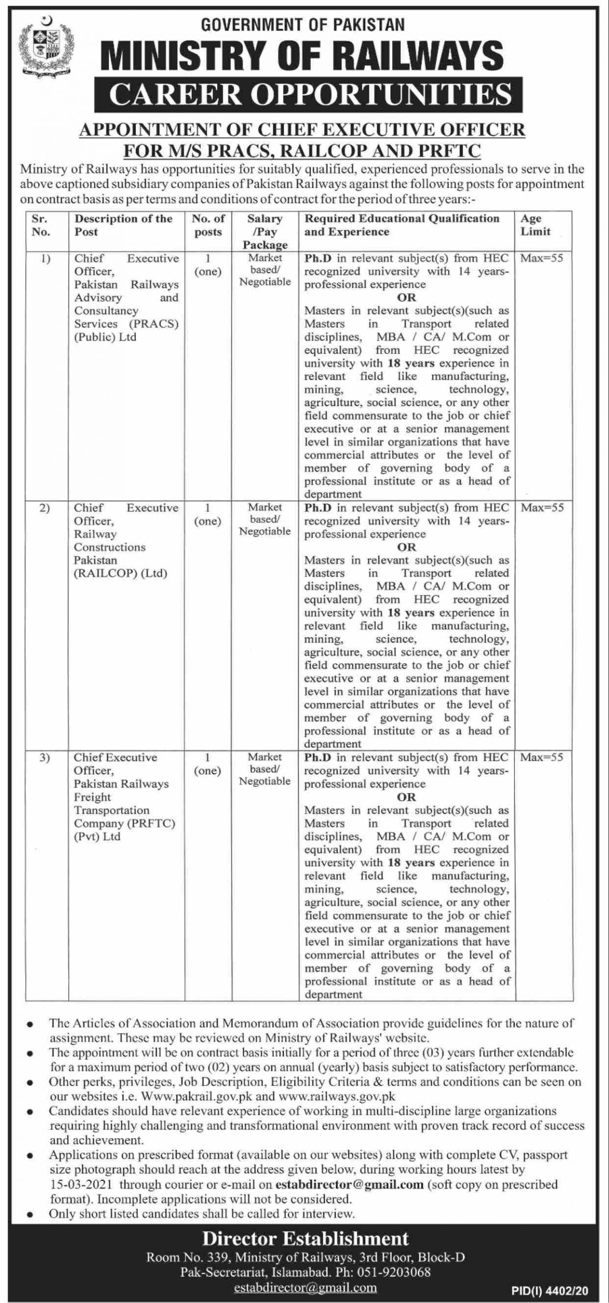 Ministry of Railways Government of Pakistan Jobs February 2021