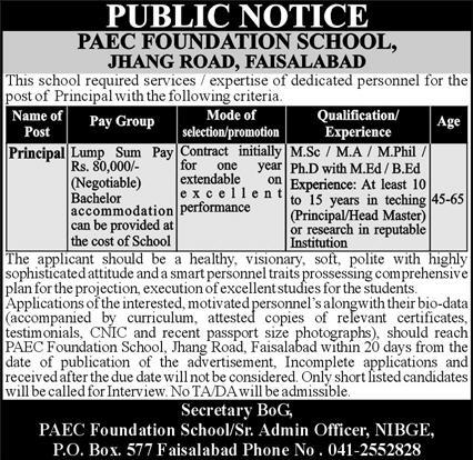 PAEC Foundation School Jobs February 2021