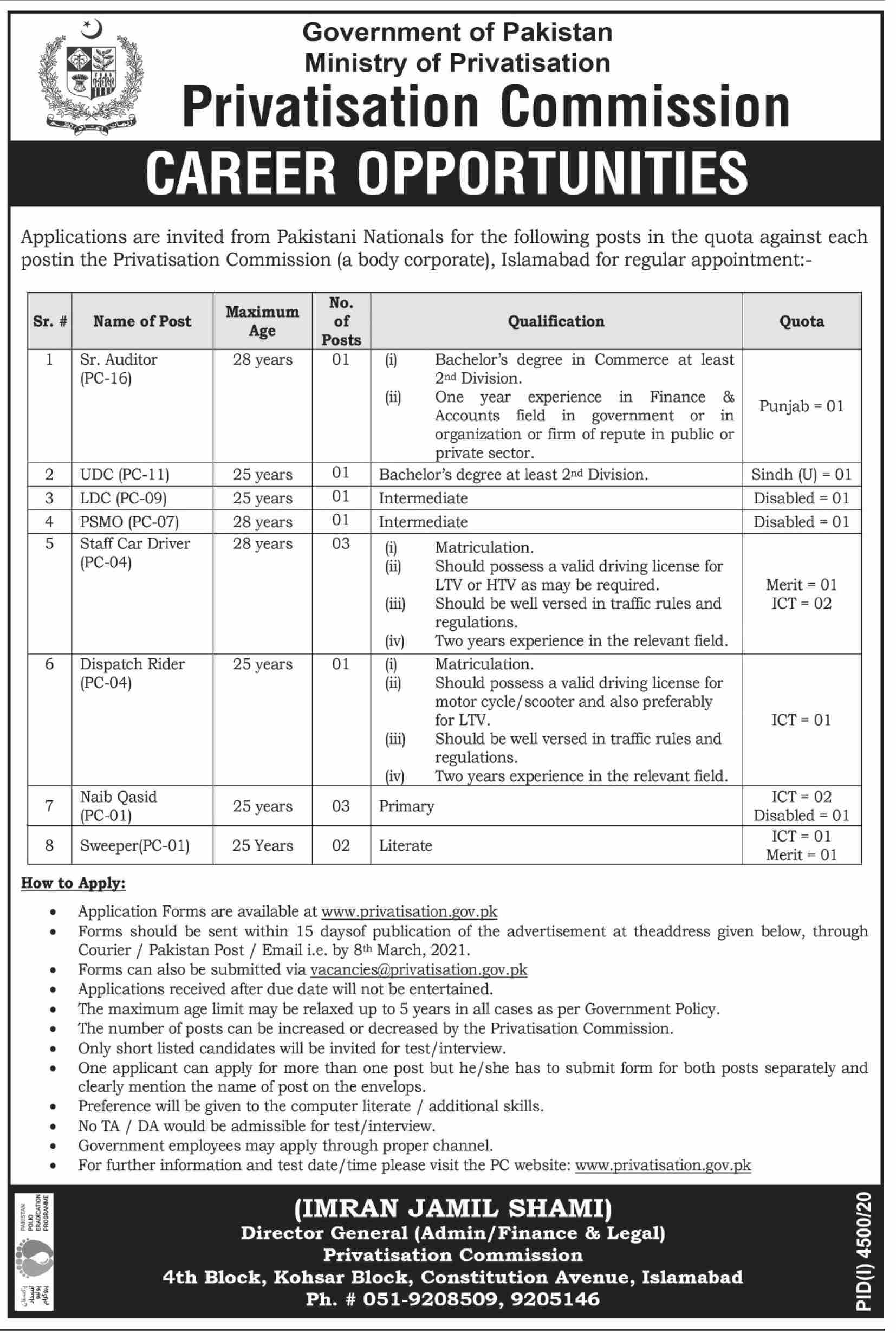 Privatisation Commission Jobs February 2021