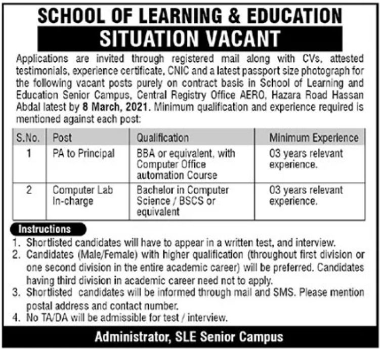 School of Learning & Education Jobs February 2021