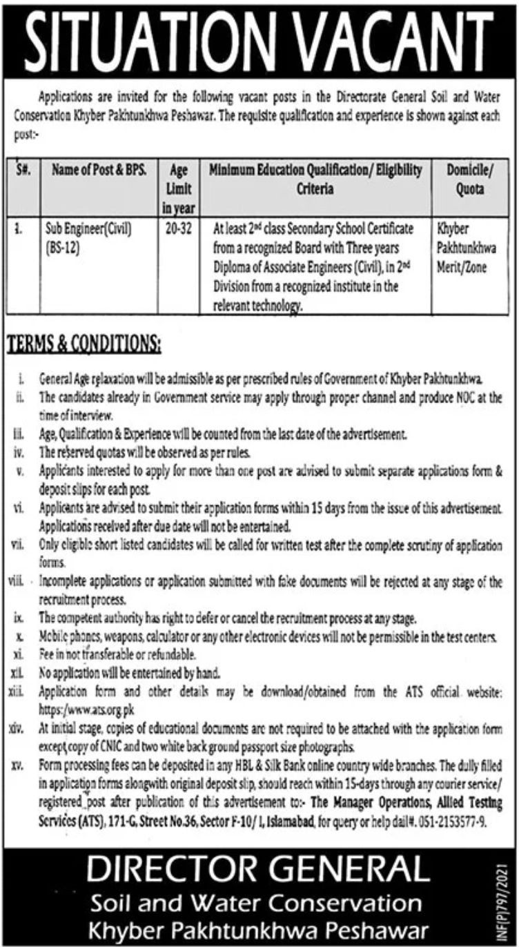 Soil and Water Conservation Khyber Pakhtunkwa Peshawar Jobs February 2021