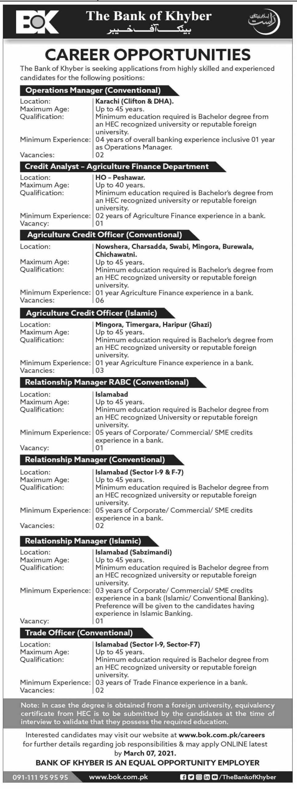 The Bank of Khyber Jobs February 2021