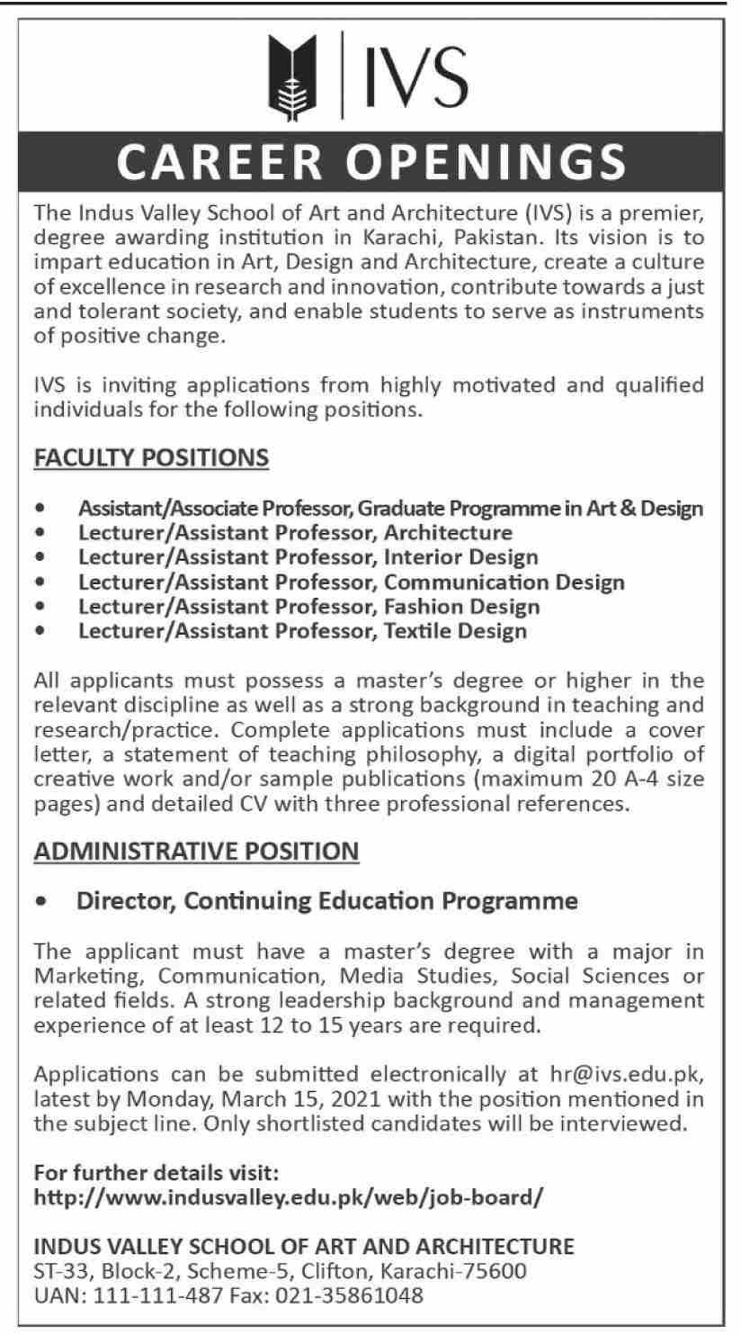 The Indus Valley School of Art and Architecture IVS Jobs February 2021