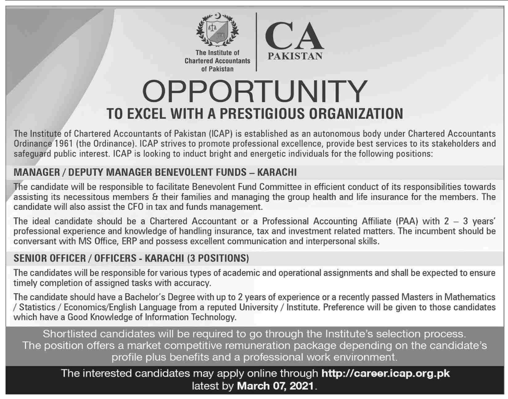The Institute of Chartered Accountant of Pakistan ICAP Jobs February 2021