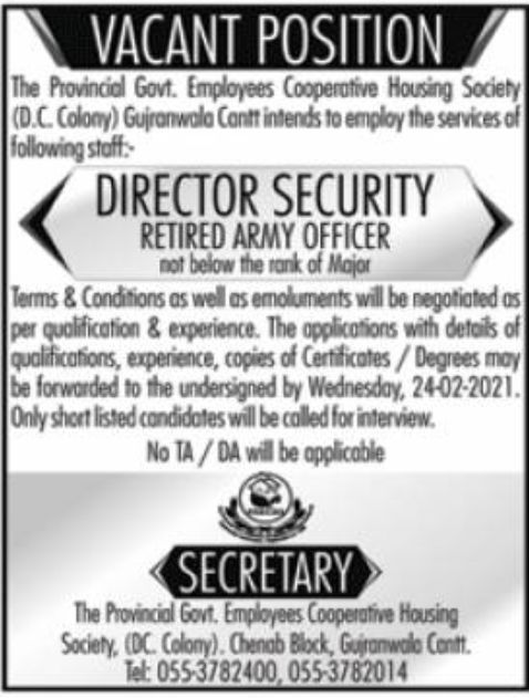 The Provincial Govt Employees Cooperative Housing Society Jobs February 2021