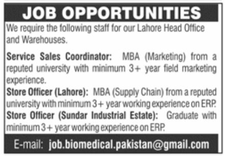 Warehouse Lahore Jobs February 2021