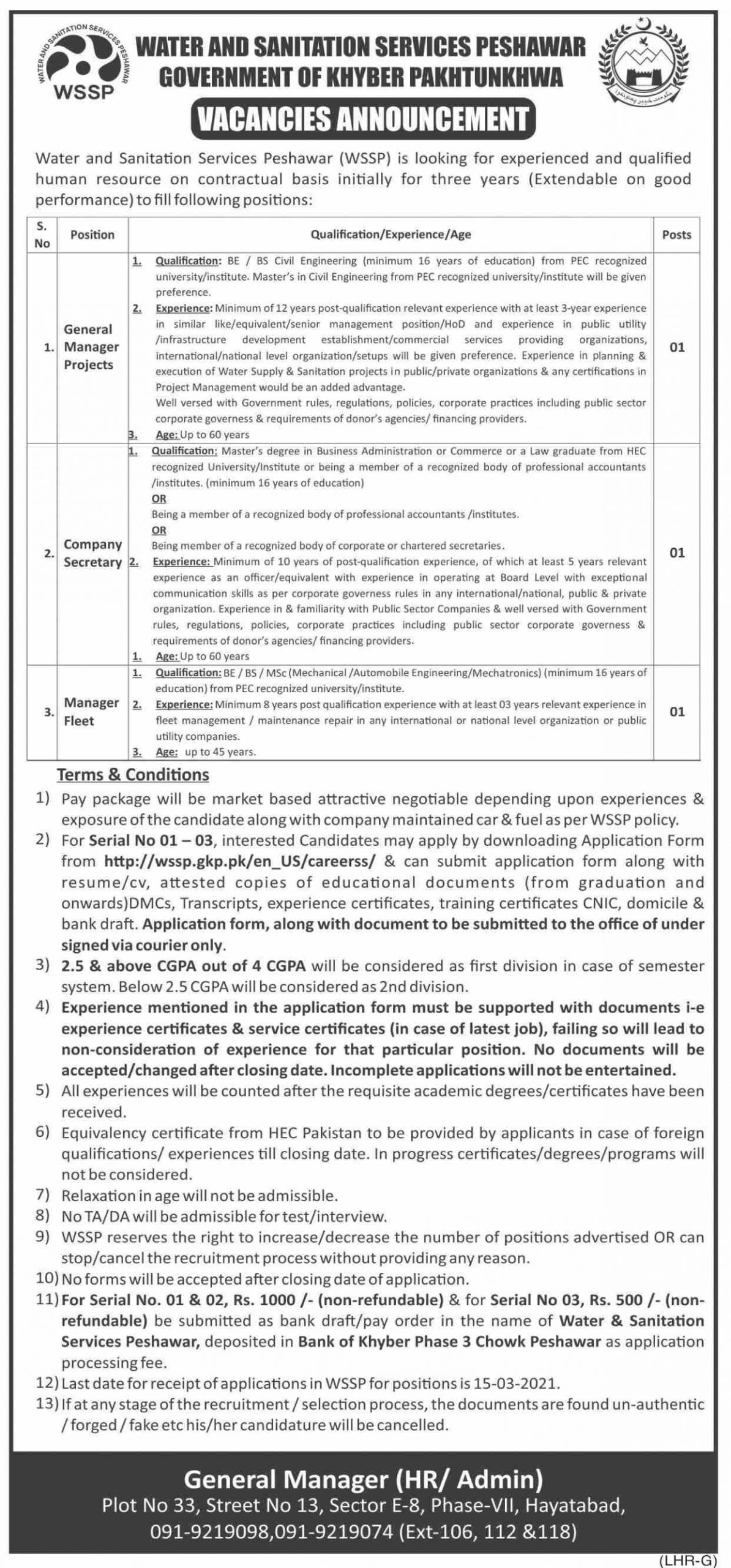 Water and Sanitation Services Peshawar WSSP Jobs February 2021