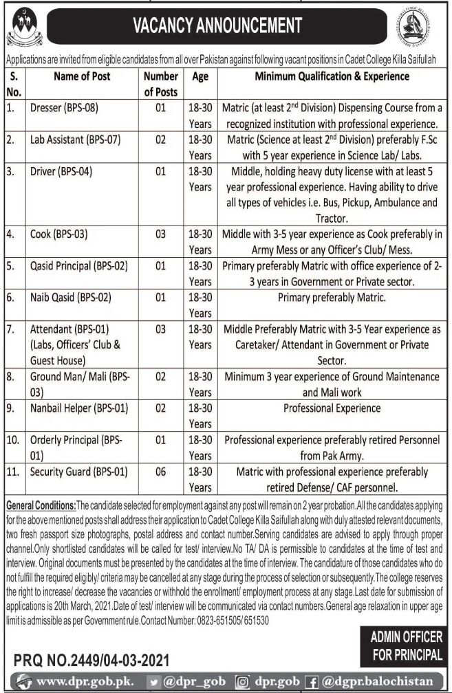 Cadet College Killa Saifullah Jobs March 2021