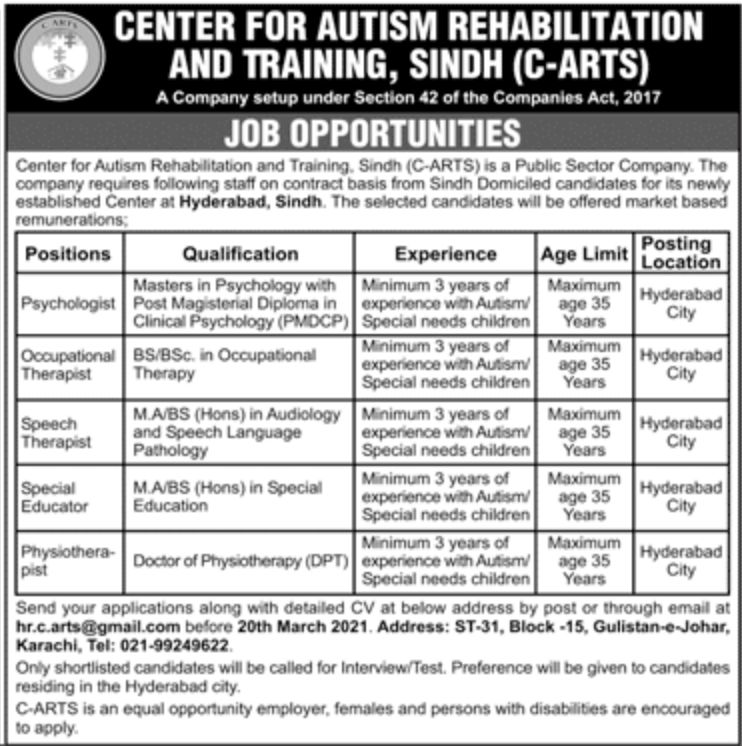 Center for Autism Rehabilitation and Training Jobs March 2021