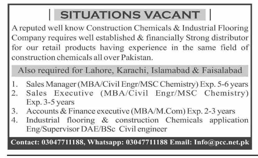 Construction Chemicals & Industrial Flooring Company Jobs March 2021