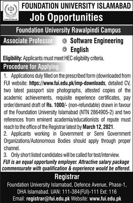 Foundation University Islamabad Jobs March 2021