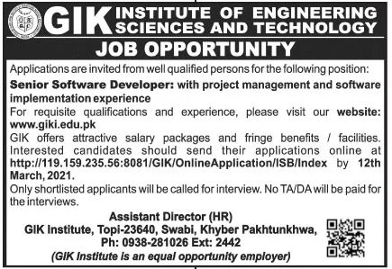 GIK Institute of Engineering Sciences and Technology Jobs March 2021