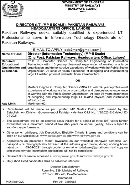 Government of Pakistan Ministry of Railways Jobs March 2021