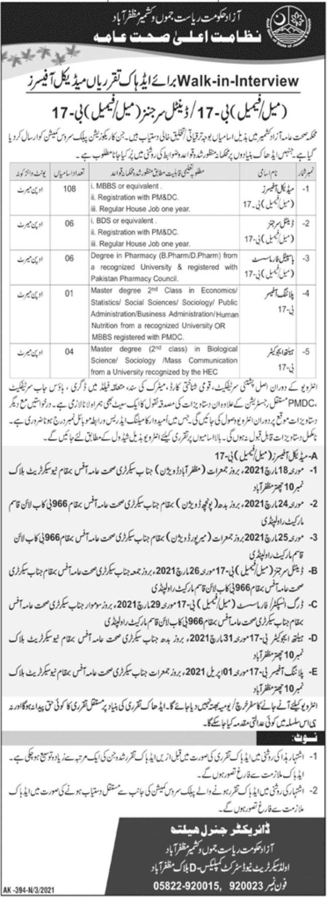 Health Department Jobs March 2021