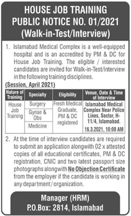 Islamabad Medical Complex Jobs March 2021