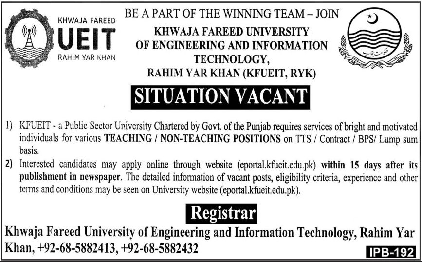 Khwaja Fareed University of Engineering and Information Technology Jobs March 2021