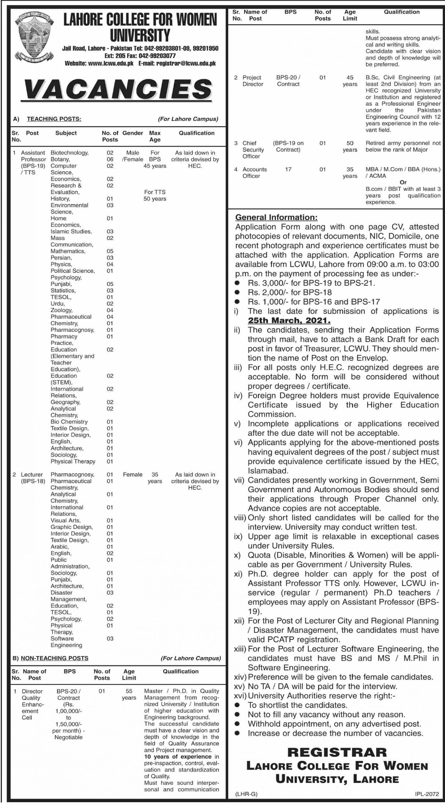 Lahore College for Women University Jobs March 2021