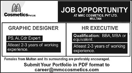 MMC Cosmetics Pvt Ltd Jobs March 2021