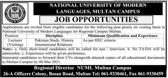 National University of Modern Languages Multan Jobs March 2021