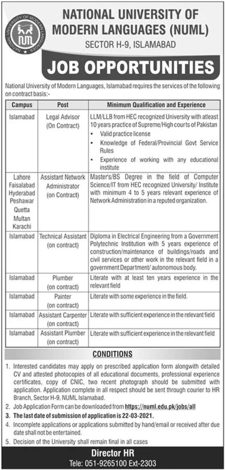 National University of Modern Languages NUML Jobs March 2021