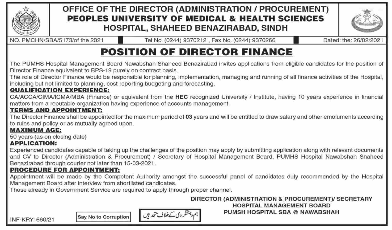 People University of Medical & Health Sciences Jobs March 2021